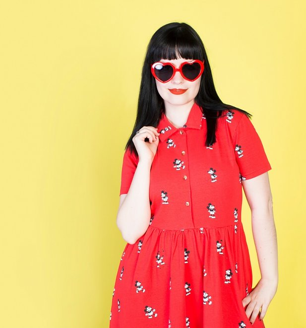 Women's Red Mickey Mouse All Over Print Button Up Dress from Cakeworthy