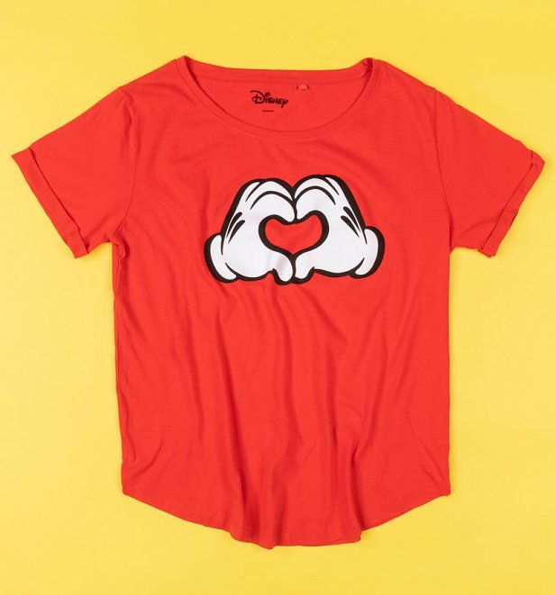 Women's Red Mickey Mouse Love Heart Hands T-Shirt