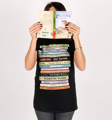 Women's Retro Book Collection Black Rolled Sleeve Boyfriend T-Shirt