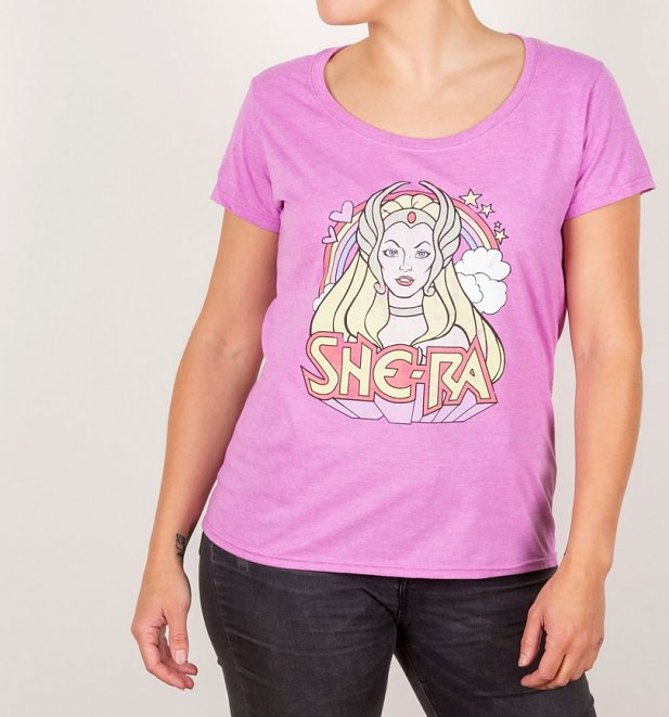 Women's Retro She-Ra Rainbow Heather Orchid Scoop Neck T-Shirt