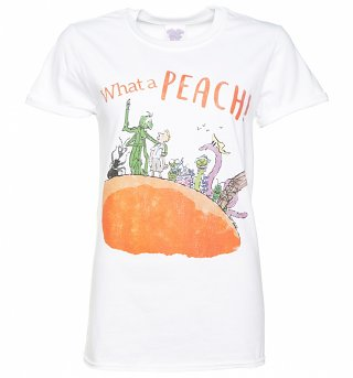 Women's Roald Dahl What A Peach White Boyfriend Fit T-Shirt With Rolled Sleeves