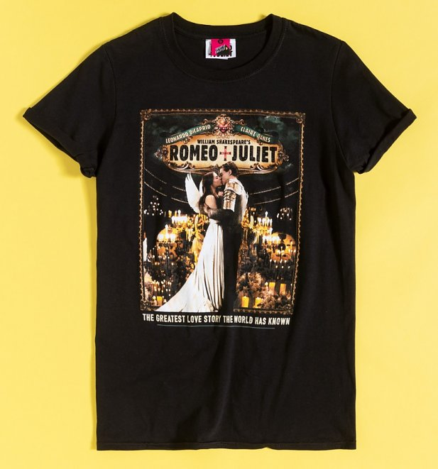 Women's Romeo And Juliet Kiss Black Boyfriend Fit Rolled Sleeve T-Shirt