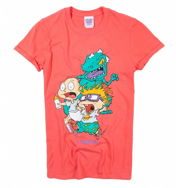 Women's Rugrats Reptar Chase Coral Pink Rolled Sleeve Boyfriend T-Shirt
