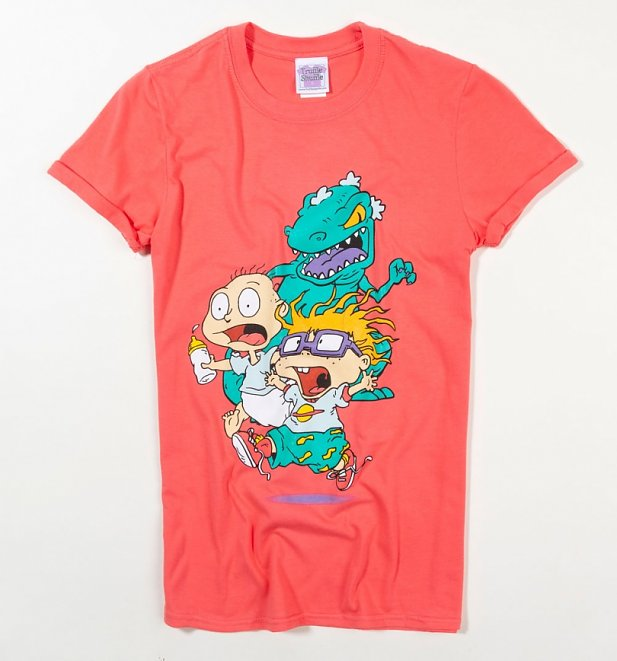 Rugrats Reptar Chase Coral Pink Rolled Sleeve Boyfriend T-Shirt