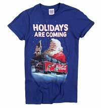 Women's Santa Holidays Are Coming Coca-Cola Rolled Sleeve Boyfriend T-Shirt