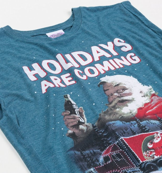 Women's Santa Holidays Are Coming Coca-Cola Flowy T-Shirt With Rolled Cuffs