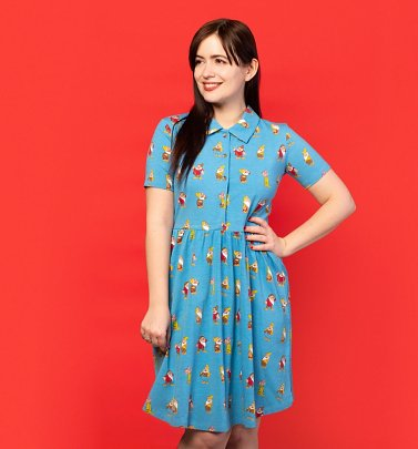 Women's Seven Dwarfs All Over Print Button Up Dress from Cakeworthy