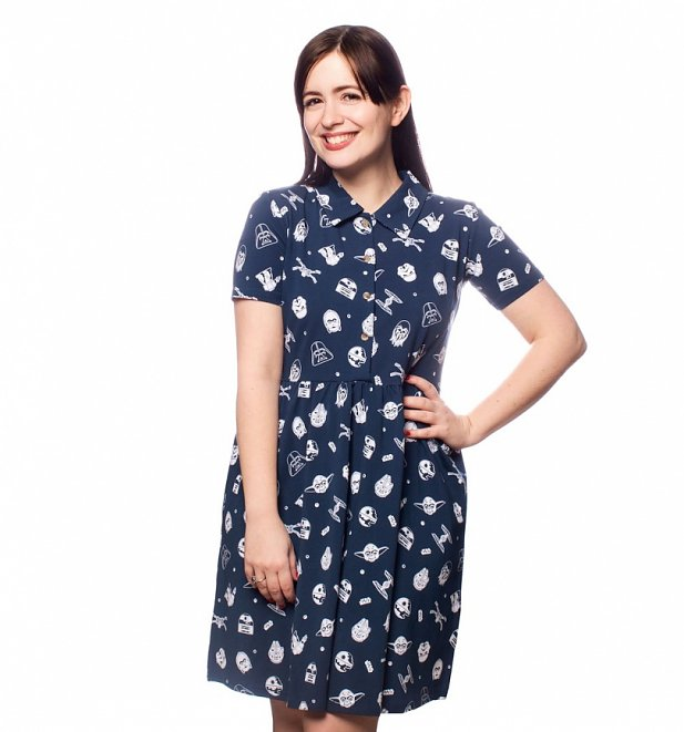Women's Star Wars All Over Print Button Up Dress from Cakeworthy