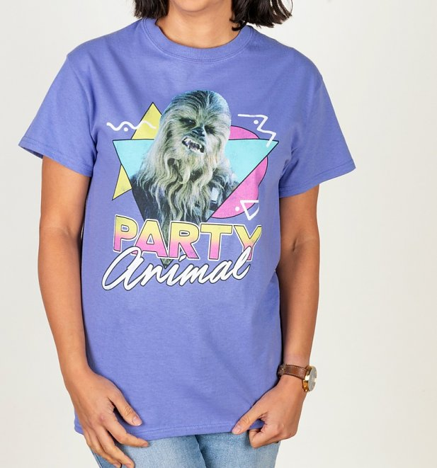 Women's Star Wars Chewbacca Party Animal Violet T-Shirt