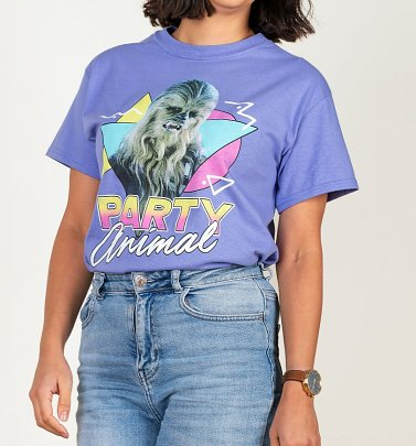 Women's Star Wars Chewbacca Party Animal Violet Oversized T-Shirt