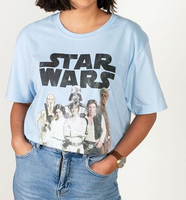 Women's Star Wars Group Shot Light Blue T-Shirt