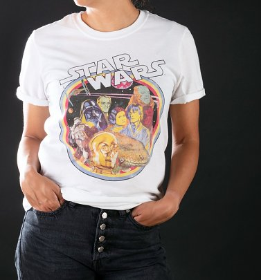 Women's Star Wars Retro Gang White Boyfriend Fit Rolled Sleeve T-Shirt