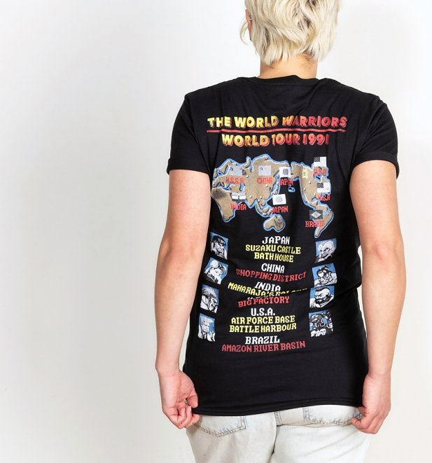 Women's Street Fighter II World Tour Black Boyfriend Rolled Sleeve T-Shirt