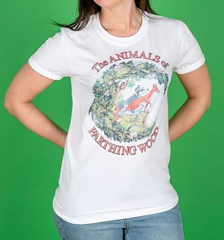 Women's The Animals Of Farthing Wood White Boyfriend Fit Rolled Sleeve T-Shirt