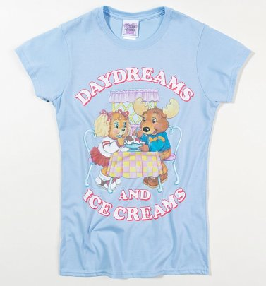 Women's The Get Along Gang Daydreams And Ice Creams Light Blue Fitted T-Shirt