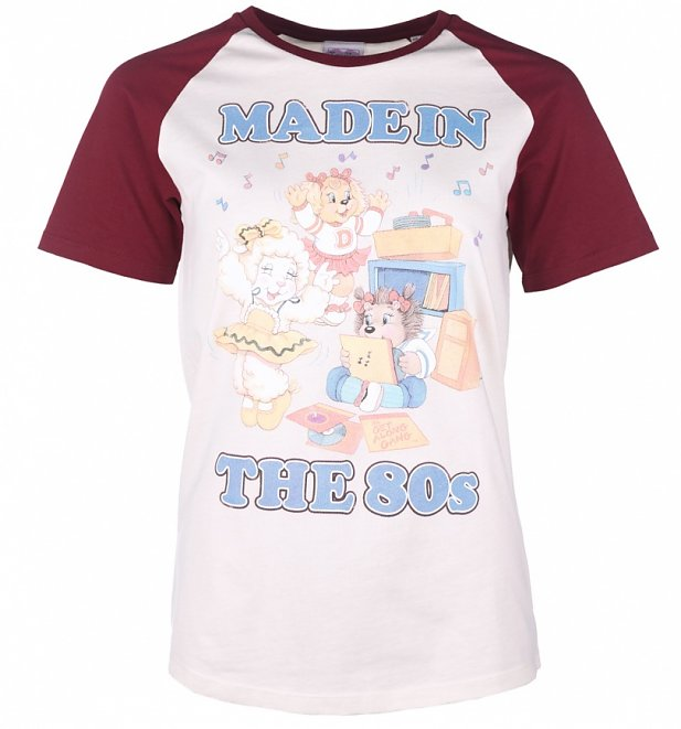 Women's The Get Along Gang Made In The 80s White And Burgundy Raglan Baseball T-Shirt