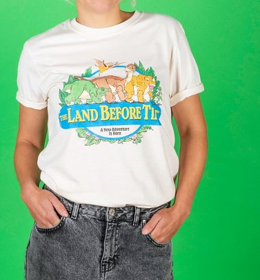 Women's The Land Before Time Rolled Sleeve Boyfriend T-Shirt