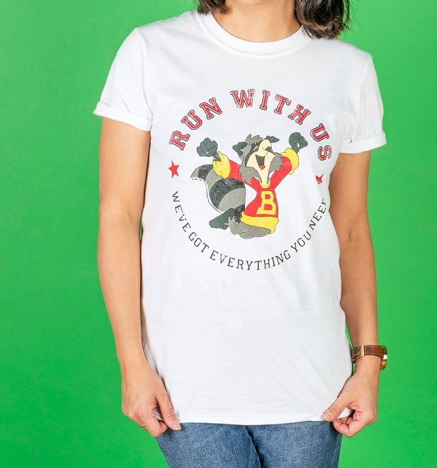 Women's The Raccoons Run With Us Badge White T-Shirt