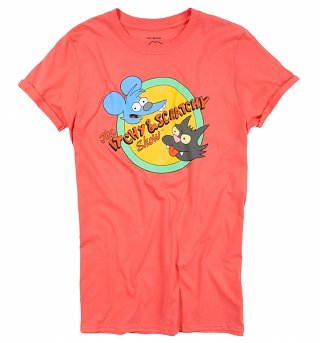 Women's The Simpsons Itchy and Scratchy Coral Pink Rolled Sleeve Boyfriend T-Shirt