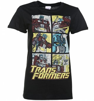 Women's Transformers Optimus Prime Comic Black Boyfriend T-Shirt With Rolled Sleeves