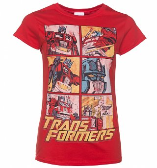 Women's Transformers Optimus Prime Comic Red T-Shirt