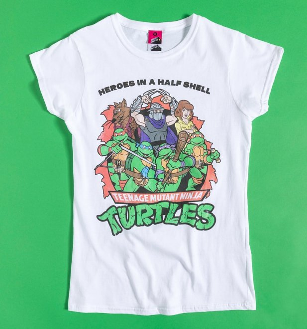 Women's Teenage Mutant Ninja Turtles Heroes In A Half Shell White Fitted T-Shirt