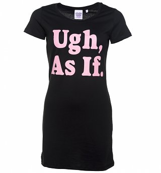 Women's Ugh As If Slogan Black T-Shirt Dress