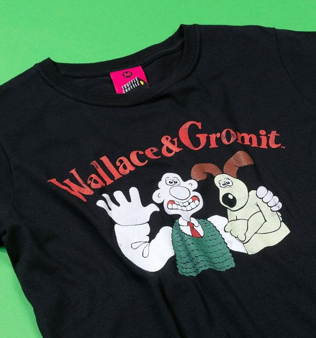 Women's Vintage Wallace and Gromit Black Fitted T-Shirt