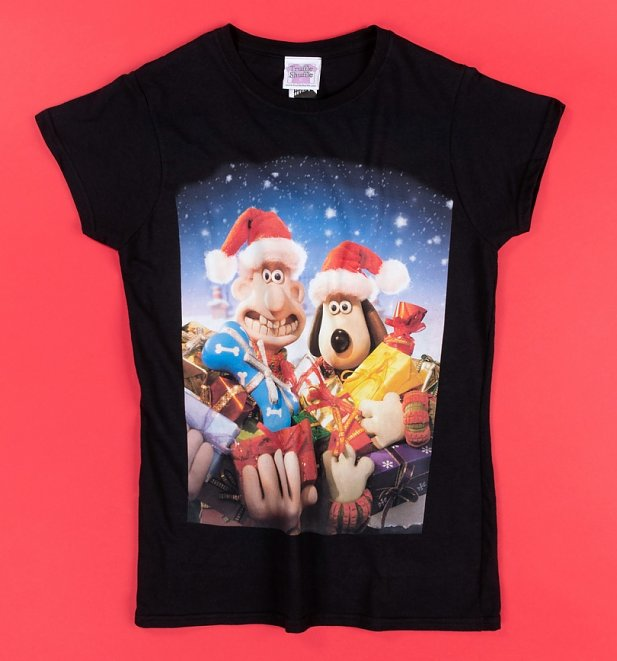 Women's Wallace And Gromit Christmas Presents Black Fitted T-Shirt