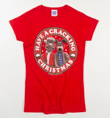 Women's Wallace And Gromit Cracking Christmas Red T-Shirt