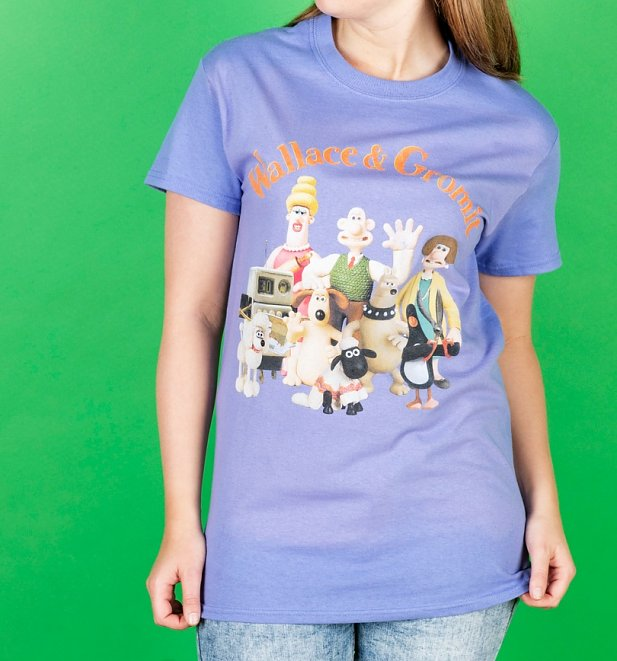 Women's Wallace And Gromit Group Violet Oversized T-Shirt