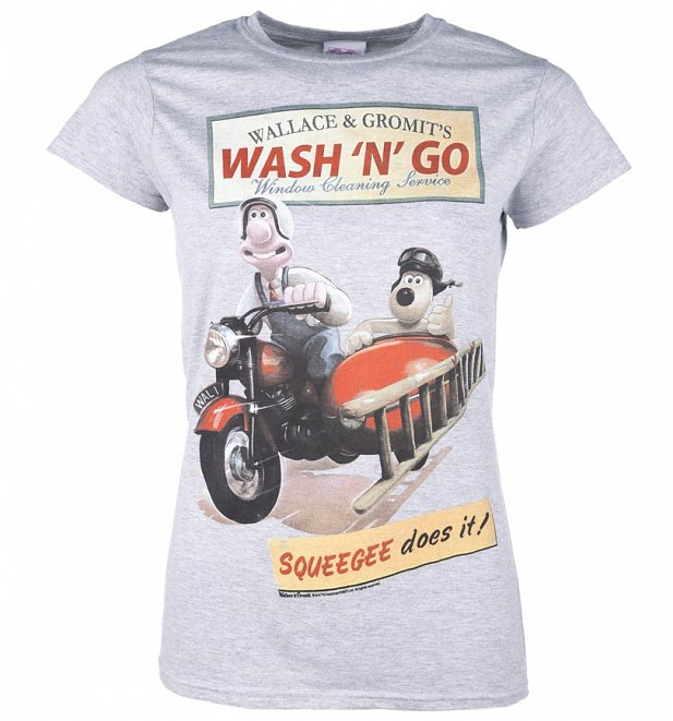 Women's Wallace And Gromit Wash N Go Sport Grey T-Shirt