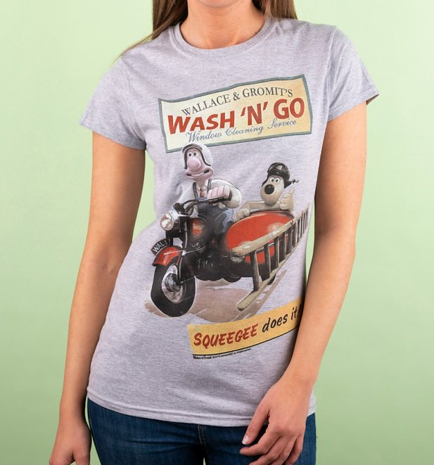 Wallace And Gromit Wash N Go Sport Grey T-Shirt