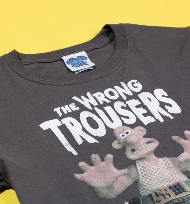 Women's Wallace and Gromit The Wrong Trousers Charcoal Boyfriend Fit Rolled Sleeve T-Shirt