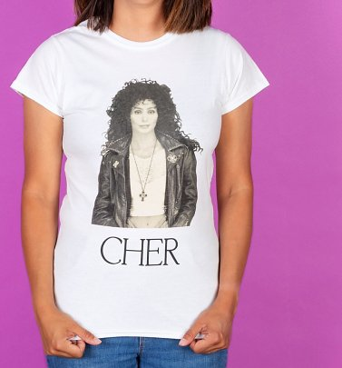 Women's White fitted Cher T-Shirt