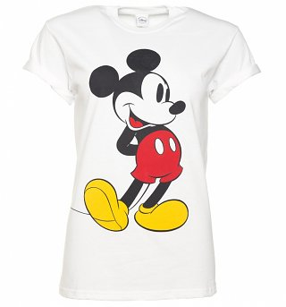 Women's White Classic Mickey Mouse Disney Boyfriend T-Shirt With Rolled Sleeves