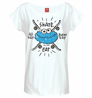 Women's White Cookie Monster Eat Skate All Day Sesame Street Slouch T-Shirt