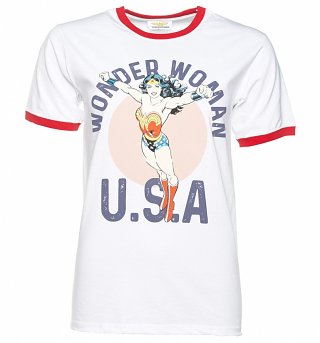 Women's White DC Comics Wonder Woman U.S.A Ringer T-Shirt