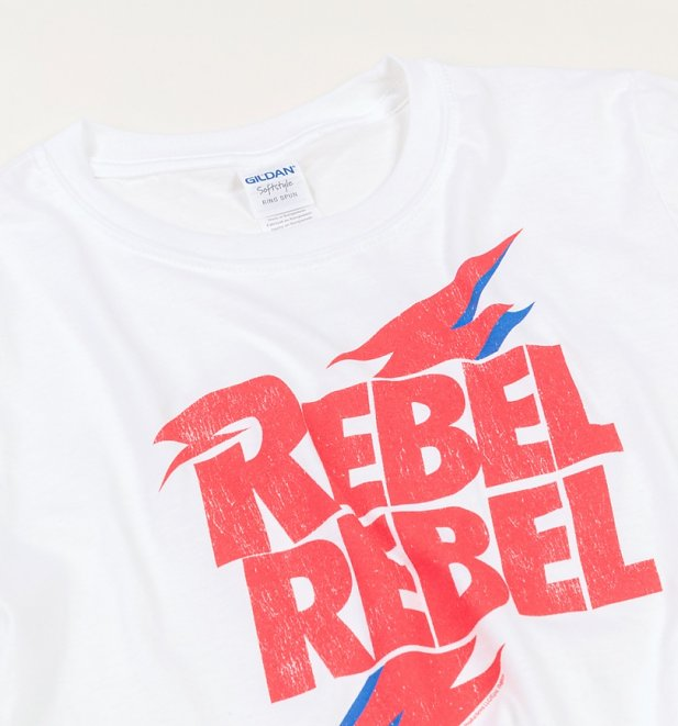 Women's White David Bowie Rebel Rebel Crop Top
