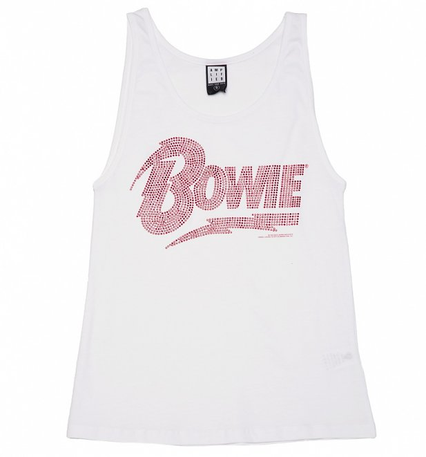 Women's White David Bowie Red Diamante Vest from Amplified
