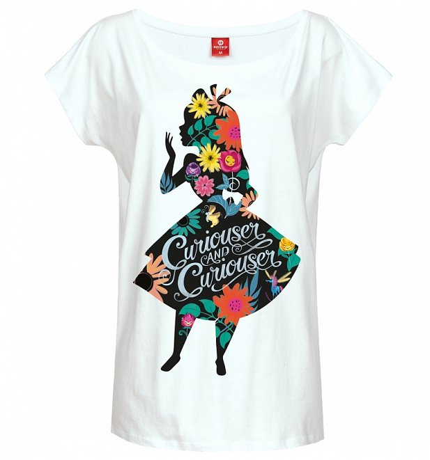 Women's White Disney Alice In Wonderland Floral Silhouette Slouch T-Shirt