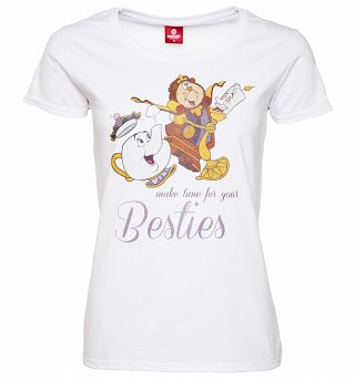 Women's White Disney Beauty & The Beast Besties T-Shirt