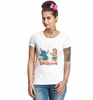 Women's White Disney Lilo And Stitch T-Shirt