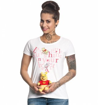 Women's White Disney Winnie The Pooh A Little Sunshine Quote T-Shirt