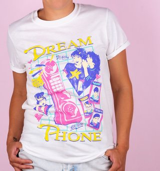 Women's White Dream Phone Boyfriend Fit Rolled Sleeve T-Shirt