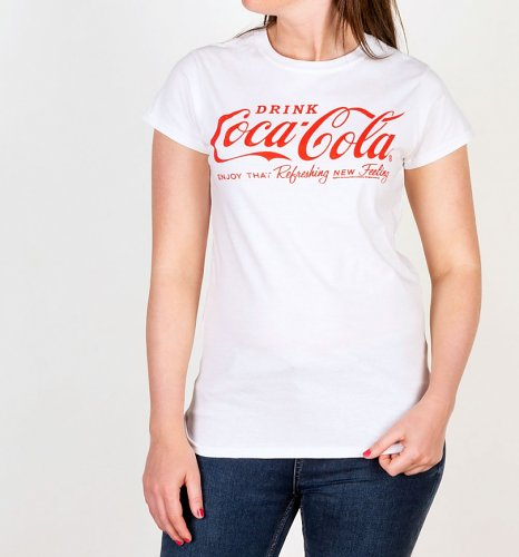 Women's White Drink Coca-Cola Logo Fitted T-Shirt