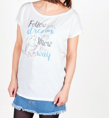 Women's White Dumbo Follow Your Dreams T-Shirt
