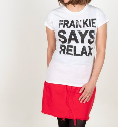 Women's White Frankie Says Relax Fitted T-Shirt