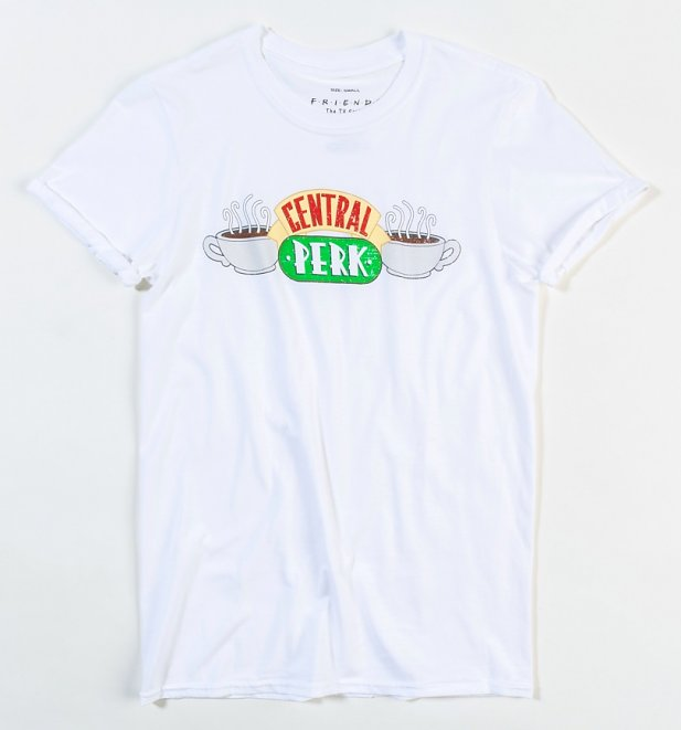 Women's White Friends Central Perk T-Shirt with Rolled Sleeves