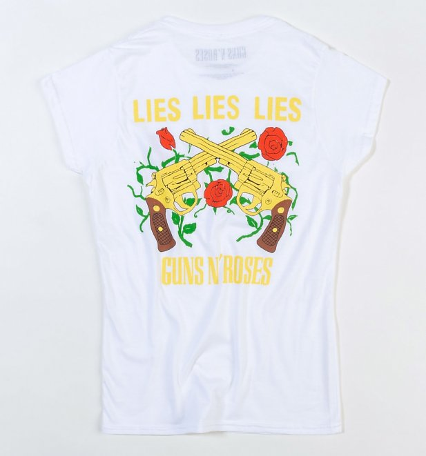 Women's White Guns N Roses Lies Lies Lies Fitted T-Shirt With Back Print